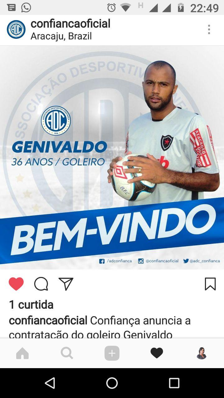 Recentemente Genivaldo vestiu a camisa do Itabaiana e obteve bastante  destaque principalmente na Copa do Nordeste e no Campeonato Sergipano bf1f34e3c81b3
