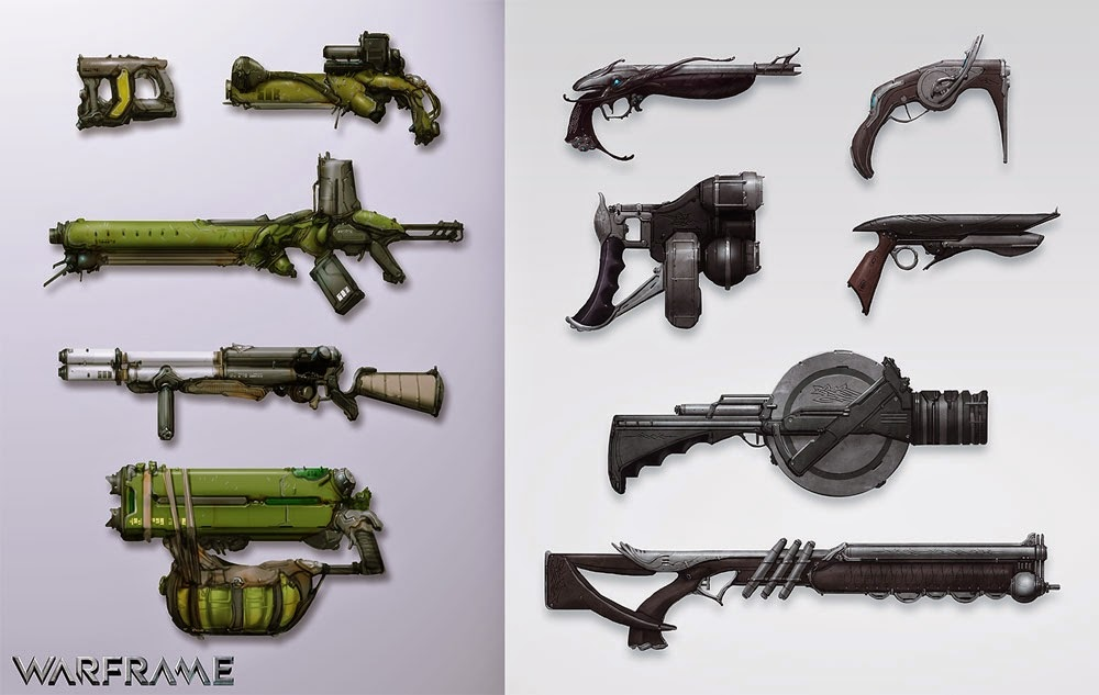 Warframe Weapons including Assault Rifles Pistols Shotguns Tasers