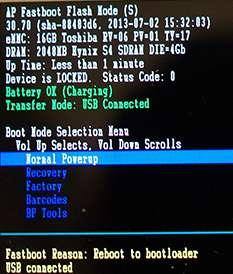 Muestra el Fastboot de un telefono Motorola