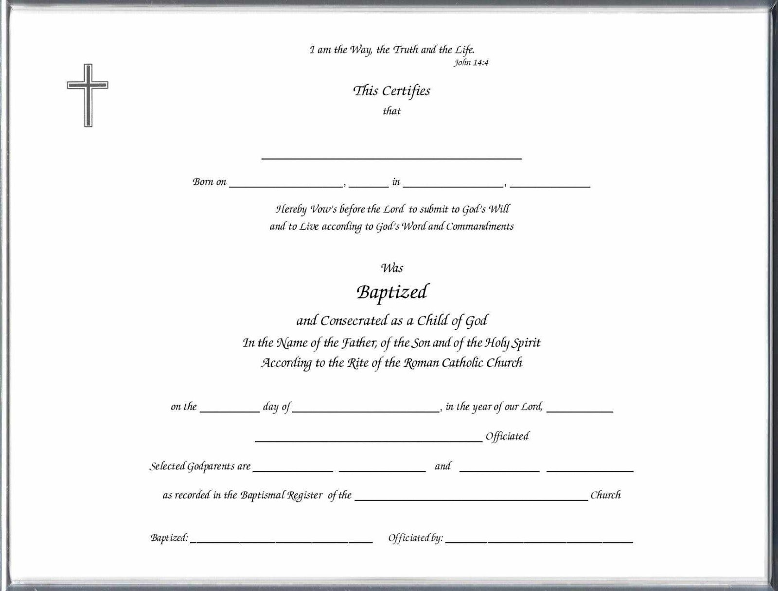 Sample baptism certificate templates sample certificate for Baptism certificate template pdf