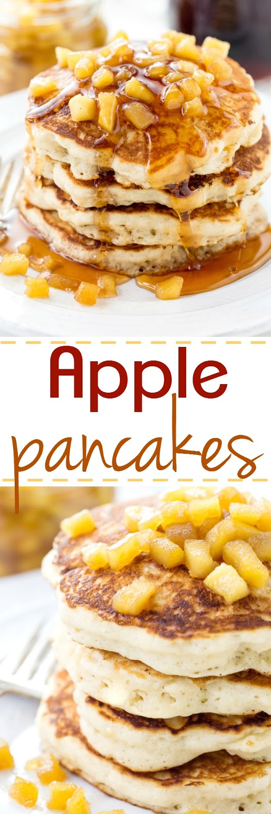 These are the fluffiest pancake recipe around and are topped with sweet apples sauteed in a maple sauce.
