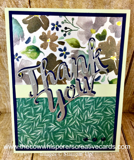 Card, Thank You Thinlit Die, Frosted Floral Designer Series Paper, Clean & Simple