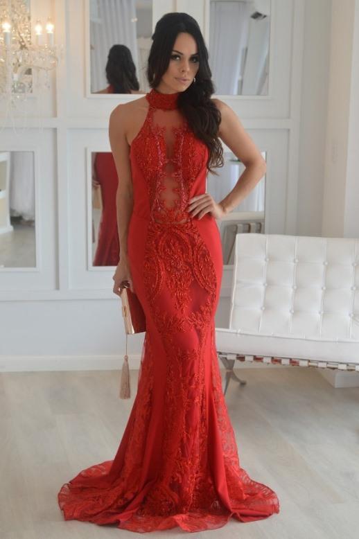 vestido de festa vermelho 2017