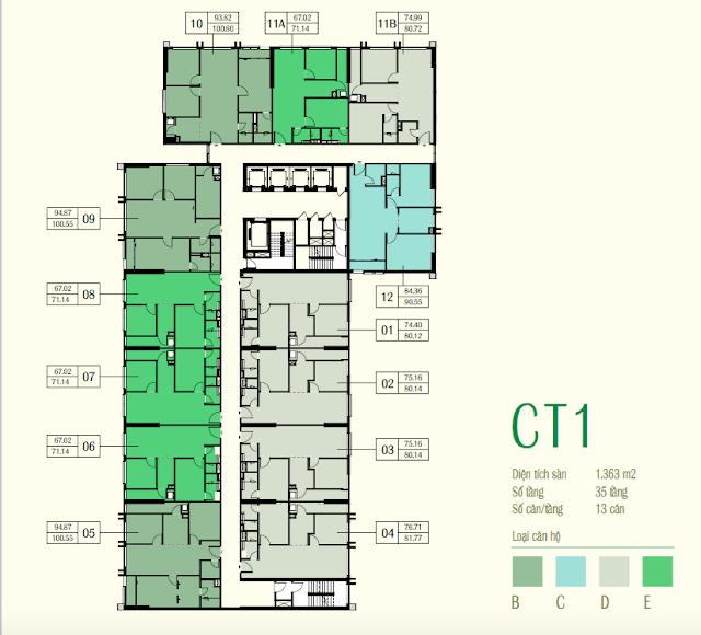 Mặt bằng toà CT1 chung cư eco green city