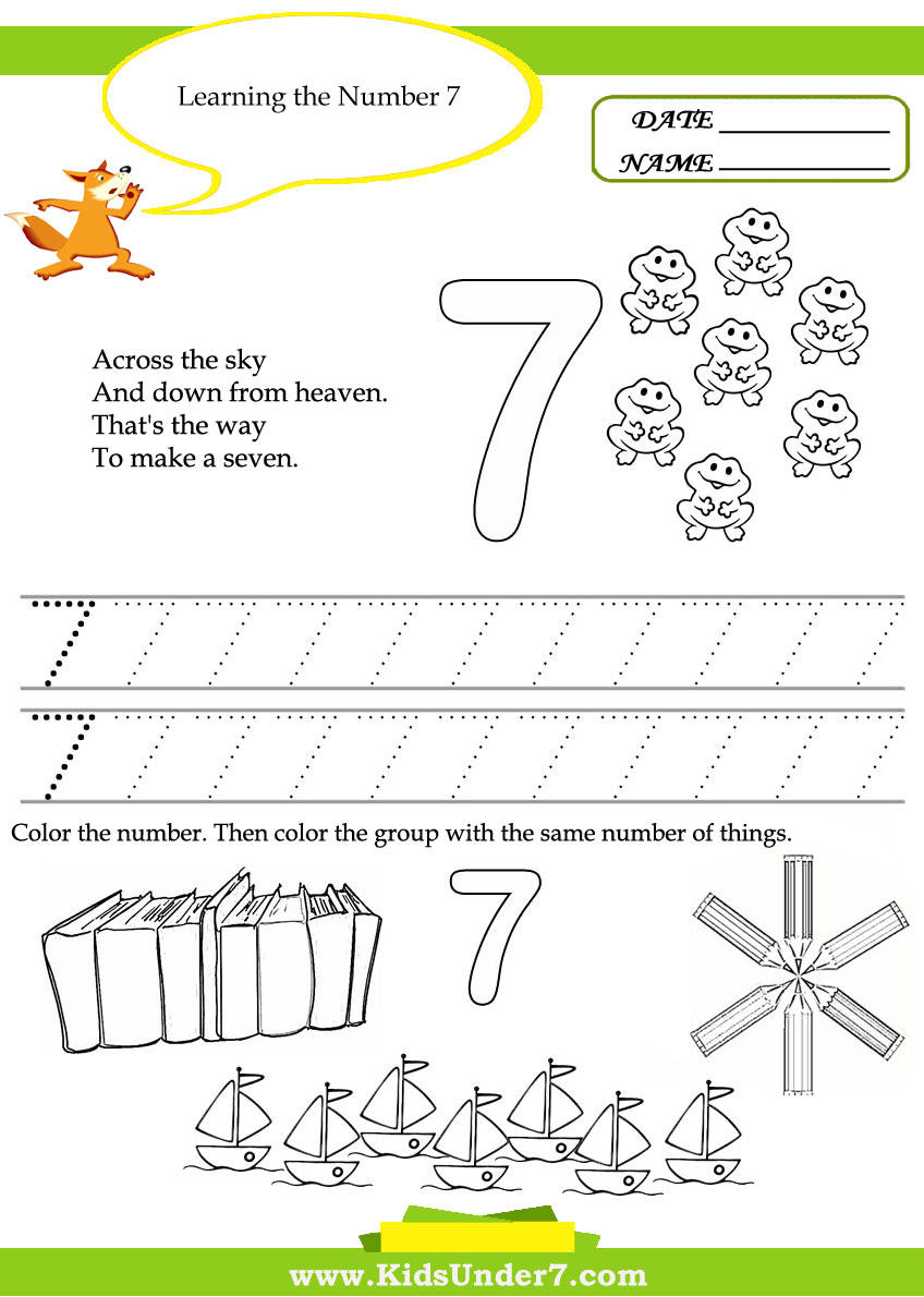 Workbooks three letter words worksheets kindergarten : Kids Under 7: Free Printable Kindergarten Number Worksheets