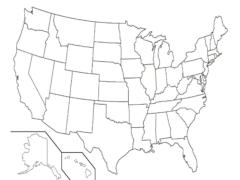 united state blank map