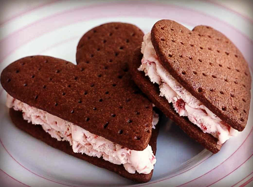 Dying for Chocolate Chocolate Strawberry Ice Cream Heart Sandwiches