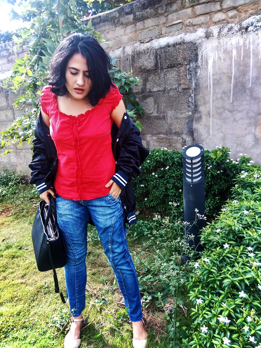 red Top,DIY FRAYED HEM jeans,-Bomber Jacket,Zara bag,style inspiration,outfit
