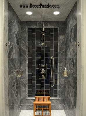 Shower Tile Ideas, Shower Tile Designs, Tiling A Shower, Black And Grey Shower  Tile Photo