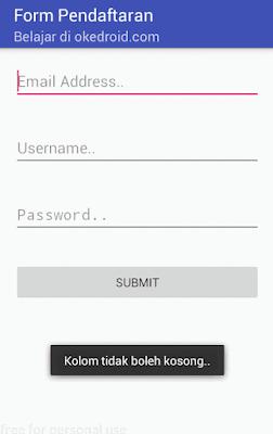 Output Hasil Tampilan aplikasi cek validasi kolom tidak boleh kosong edittext android studio