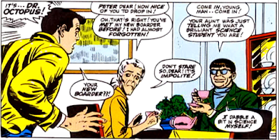 Amazing Spider-Man #54, john romita, peter parker looks aghast as he finds aunt may sat at the kitchen table with his arch-enemy doctor octopus