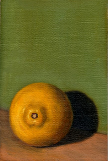 Oil painting of a lemon casting a shadow on a green background.