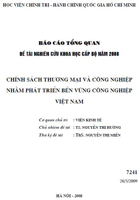 Chính sách thương mại và công nghiệp nhằm phát triển bền vững công nghiệp Việt Nam