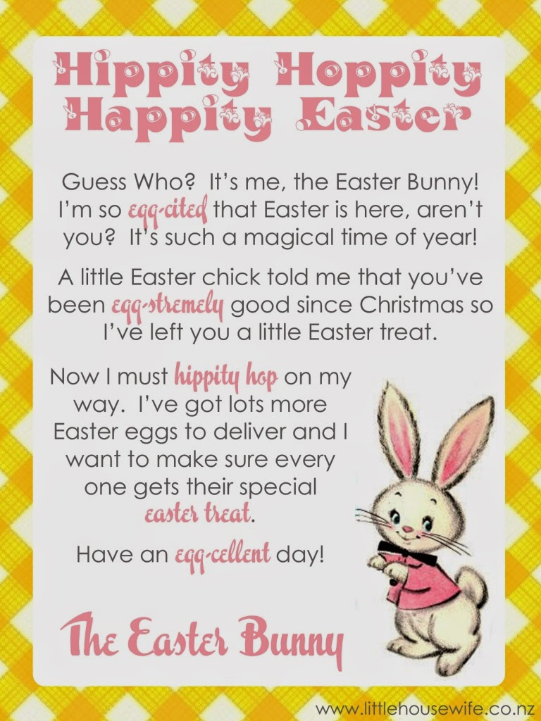 Little housewife letter from the easter bunny for Letter to easter bunny template