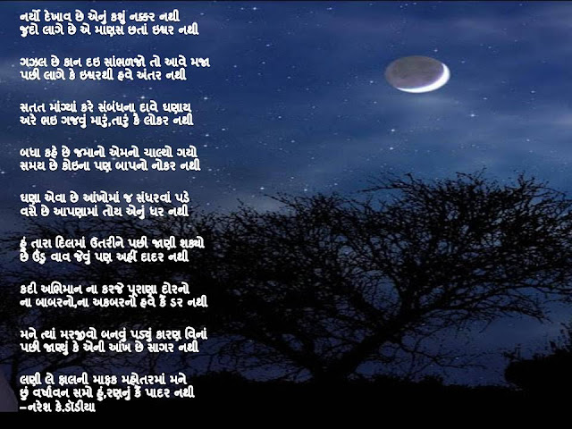नर्यो देखाव छे एनुं कशुं नक्कर नथी Gujarati Gazal By Naresh K. Dodia