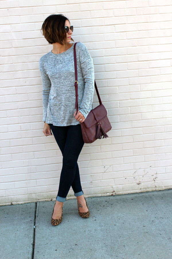 gray monroe, leopard heels, fall fashion, mom style