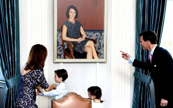 Prince Joachim and Princess Marie attend the unveiling of their portraits. Prince Henrik and Princess Athena. style royals, jewels, diamond earrings