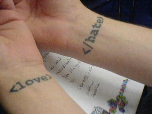 O Código HTML a Tatuagem no pulso