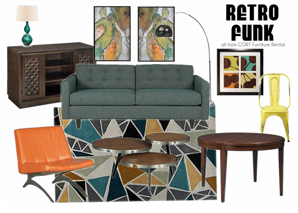Furniture rental to create a retro funky apartment