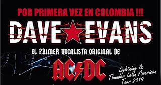 Concierto de DAVE EVANS (Ex AC/DC) en Bogotá 2019
