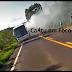 Ônibus que transportava universitários pega fogo na BR 158
