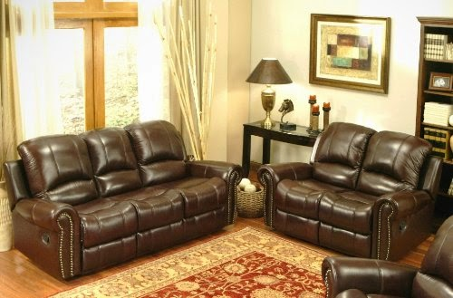 Elegant Reclining Italian Leather Sofa And Loveseat