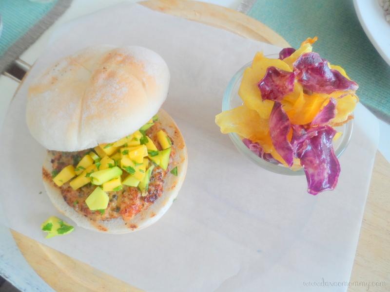 Sea Green Shrimp Burger with Mango-Avocado Salsa