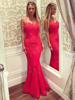 Red Trumpet/Mermaid Sweetheart Backless Lace Floor-length Latest Prom Dresses