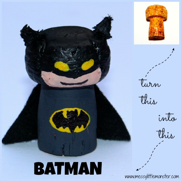 Batman craft idea for kids using a recycled cork.