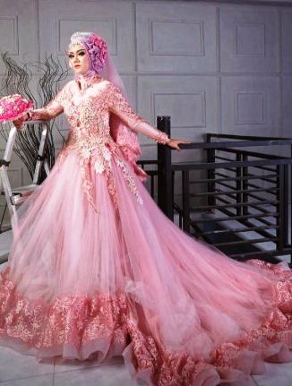 Busanamuslim Contoh 10 Gaun Pengantin Muslimah Modern Warna Pink