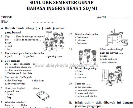 Soal UKK Bahasa Inggris SD kelas 1