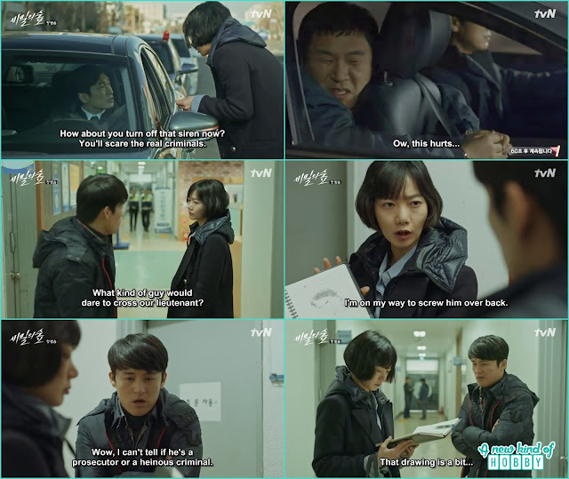 officer yeo jin help prosecutor Shi mok in catching the culprit but prosecutor took him and flew - Secret Forest: Episode 1  korean Drama