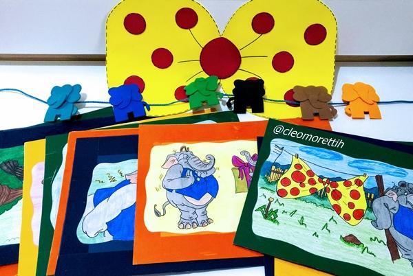 uma gravata elefantastica, hora do conto, historia, texto, sala de aula, atividade pedagogica, elefante, escola, alfabetização, historia de varal, pintado a mao, teresa noronha, editora moderna, coleçao fantasia