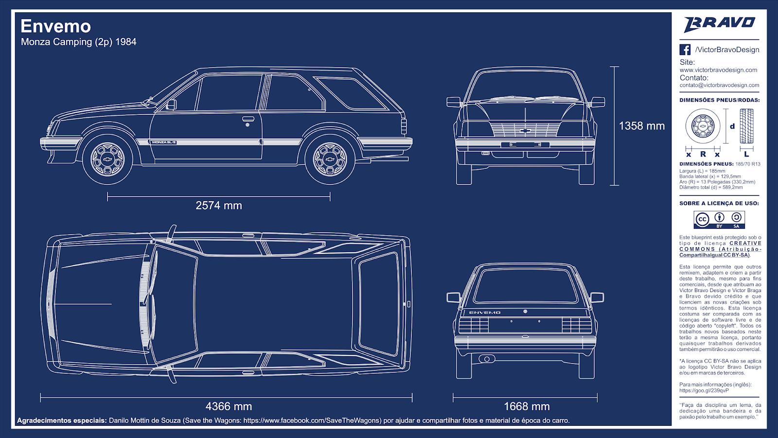 Imagem mostrando o desenho do blueprint Envemo Monza Camping (2p) 1984 (mais conhecido como Chevrolet  Monza Perua)