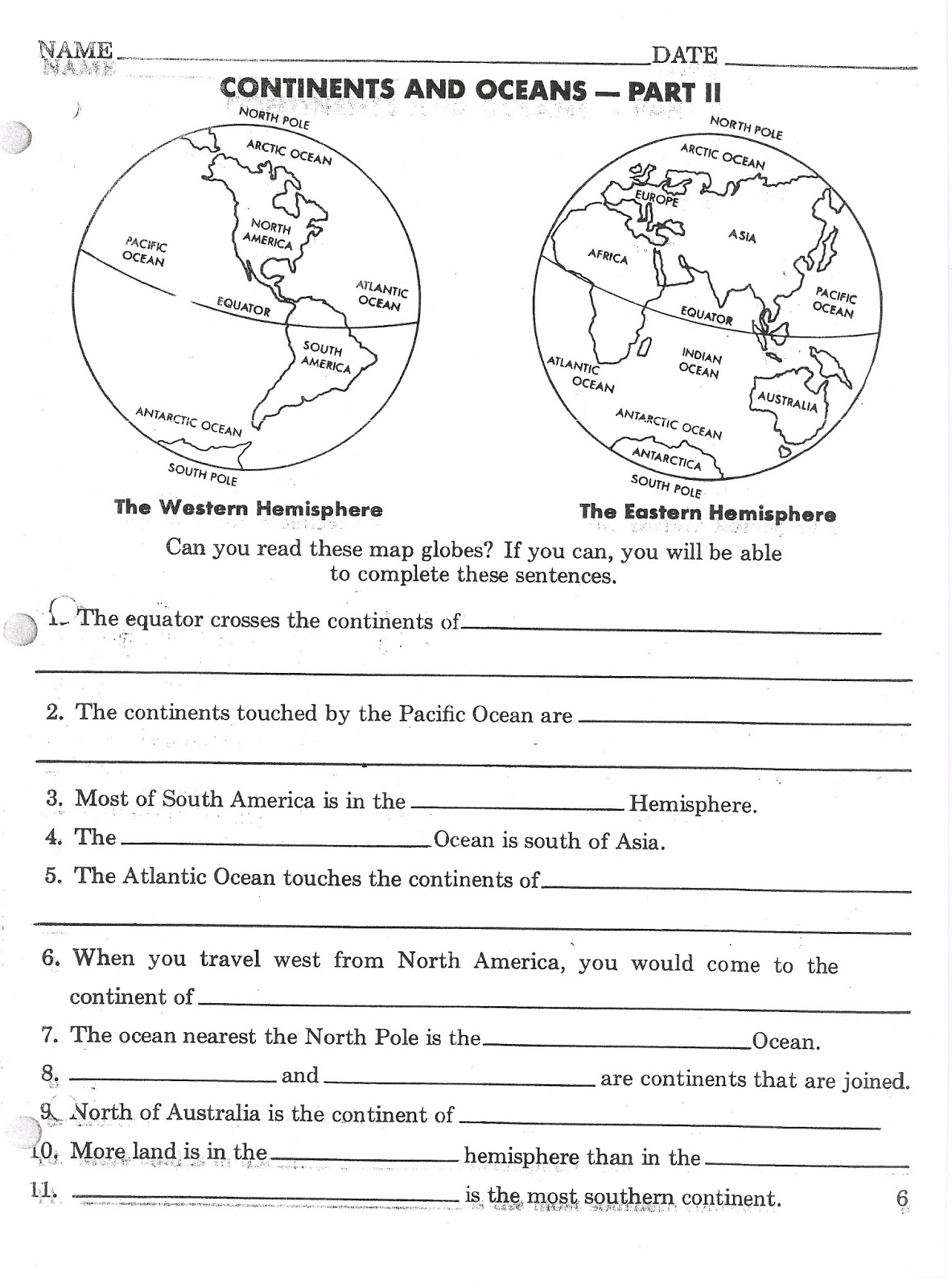 Continent Activity Worksheet