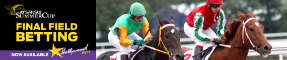 Jockeys riding horses