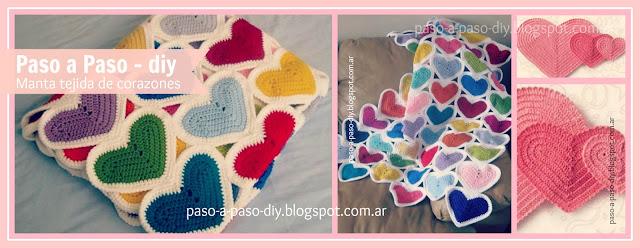 cómo hacer una manta tejida de corazones