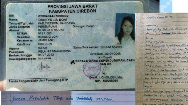 """Inilah Profil dan Surat Wasiat Dian Yulia Novi, Wanita """"Calon Pengantin"""" Rencana Bom Bunuh Diri di Istana"""