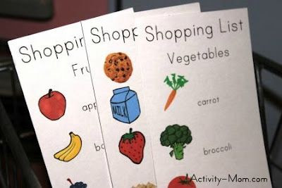 Pretend Play Shopping Lists for Kids