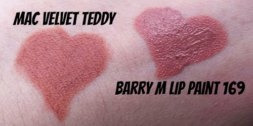 Swatches of Barry M and Mac Lipstick