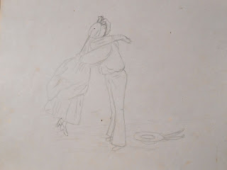 A pencil drawing of a man and woman embracing.