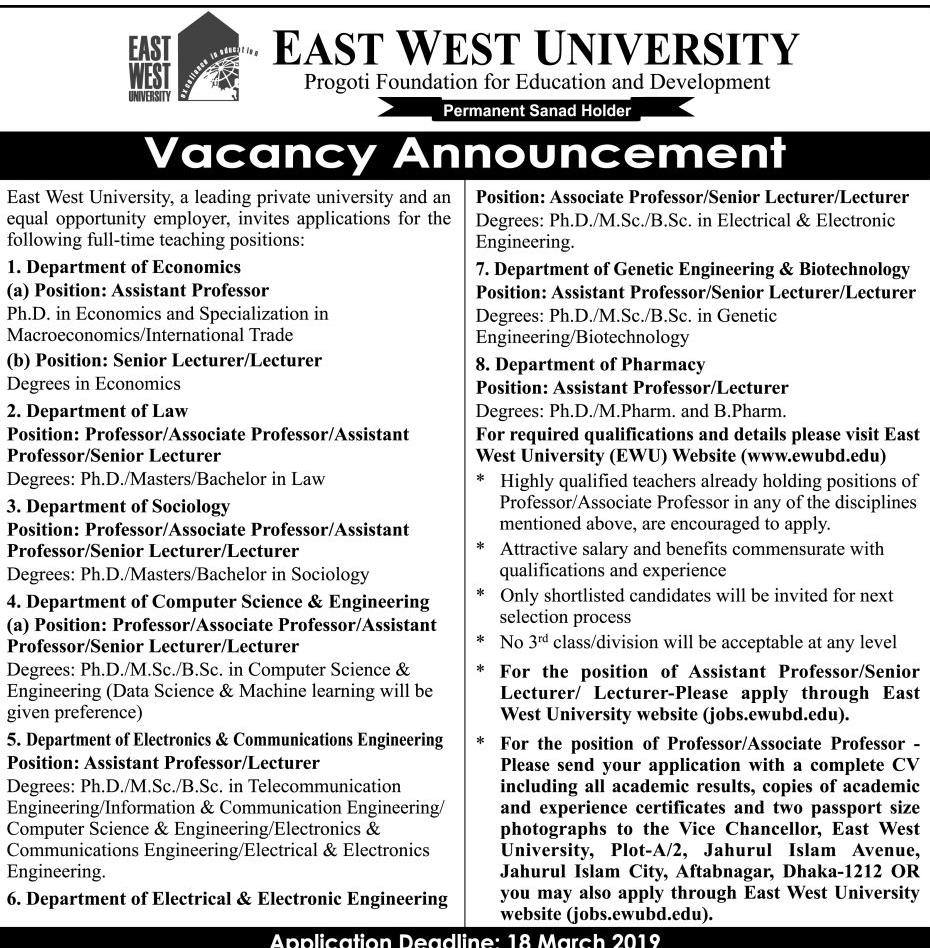 East-West University Job Circular 2019