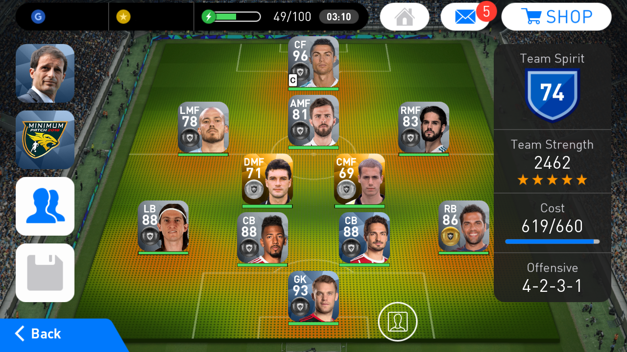 PES 2018 Mobile Android Minimum Patch 2018 V4.1