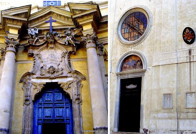 Fachadas das igrejas della Maddalena e e de Santa Maria Sopra Minerva, Roma