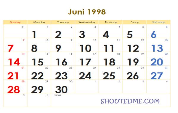 Kalender 1998 Masehi Bulan Juni