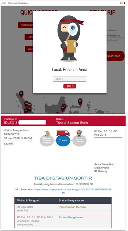 Cara cek resi Ninja Xpress melalui website