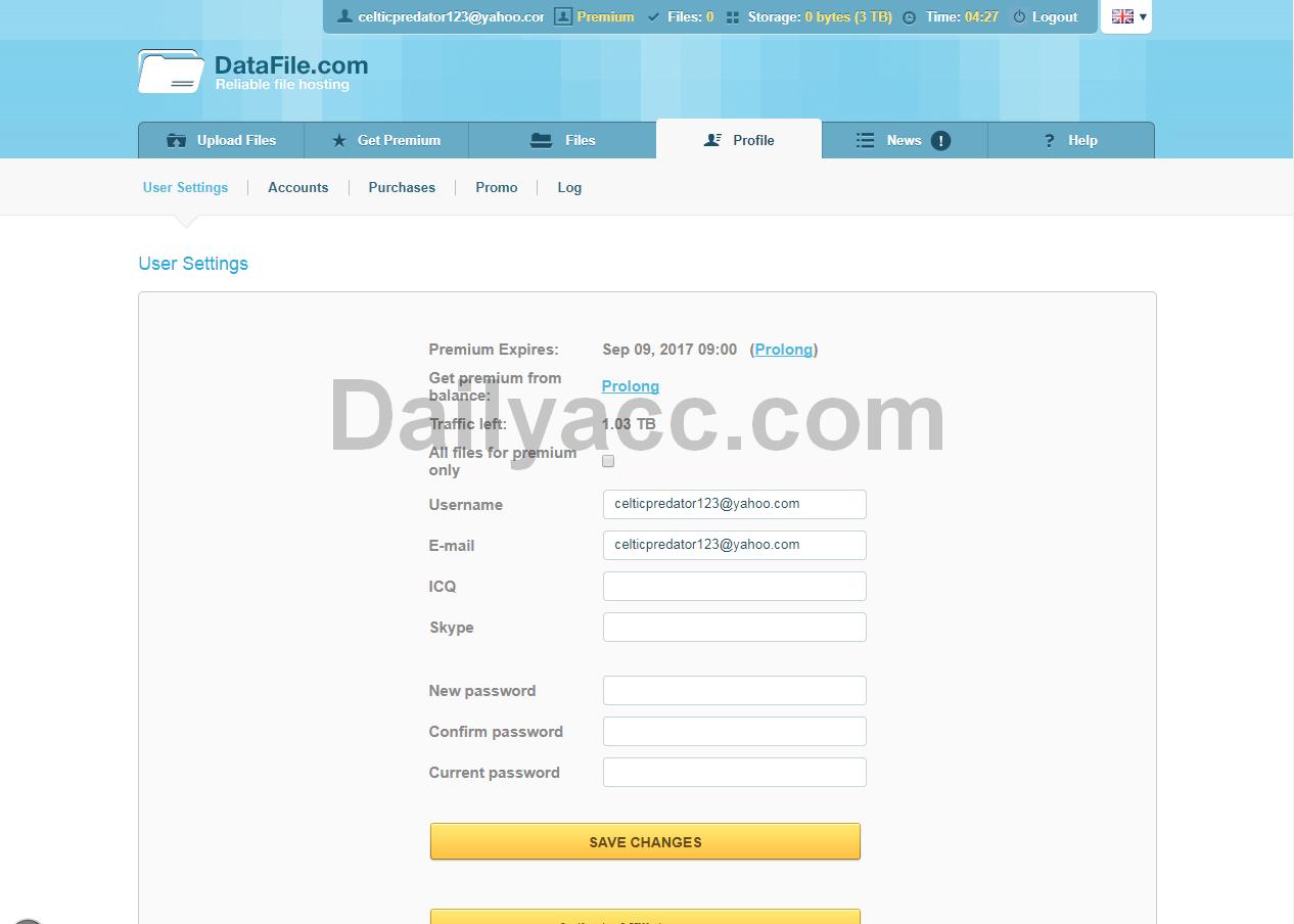 Depfile premium account 2014 - Datafile Com Premium Account August 06 2017 Premium Expires Sep 09 2017 Traffic Left 1 03 Tb