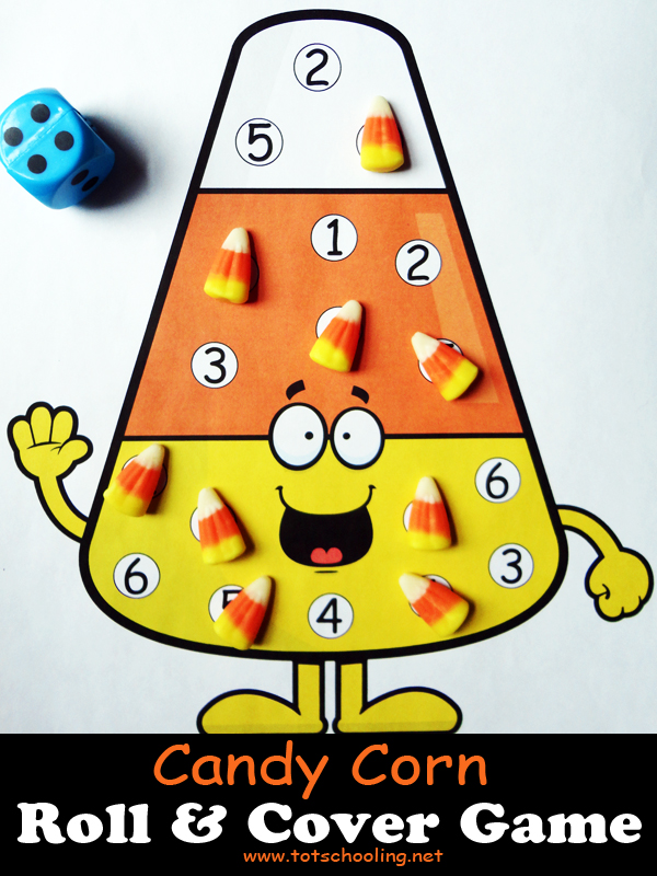 Free printable candy corn math game using dice and candy, for kids to practice counting and number recognition. Great for the Fall season or around Halloween.
