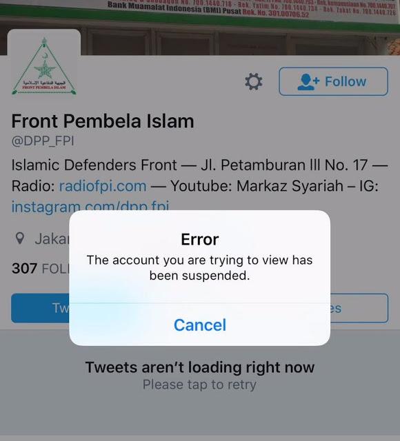 Akun Twitter FPI di suspend