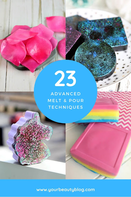 If you need soap making ideas, check out these advanced melt and pour soap techniques.  DiY soap  making is fun, and here are 23 ideas to inspire you.  Making soap recipes gives you 23 different ways to make melt and pour soap with different techniques.   DIY soap making with different colorants, embeds, and other ways to customize your bar of soap.  #diy #soap #soapmaking #meltandpoursoap #diysoap